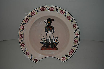 Antique French Faience Barber's Shaving Bowl With Soldier In Center