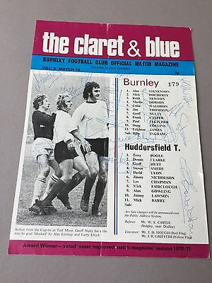FC BURNLEY signed magazine page cut from the 1970's Football autographs