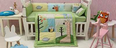 New Baby Boys 8 Pieces Cotton Nursery Bedding Crib Cot Sets Owl and Elephant
