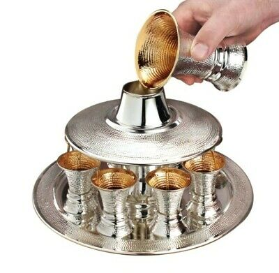 Hand Made 925 Sterling Silver Judaica Kiddush Wine Fountain Cups Goblet