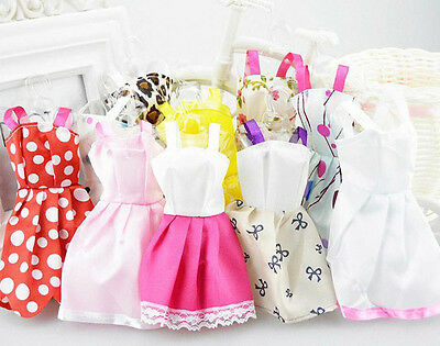 10Pcs Fashion Baby Dolls Dress Lovely Lace Dress Clothes For Mini Dolls Gift