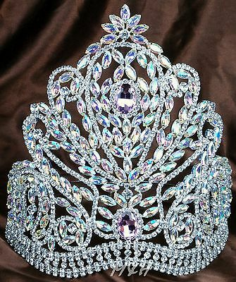 Luxurious AB Crystal Tiara Crown Wedding Bridal Headband Beauty Pageant Costumes