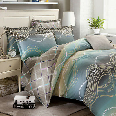 Striped Duvet Doona Quilt Cover Set Bed Double/Queen/King Size Bedding Sheet New