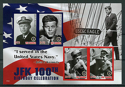 Gambia 2017 MNH JFK John F Kennedy 100th 4v IMPERF M/S I US Presidents Stamps