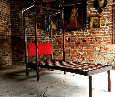 Stunning Antique Campaign Bed Four Poster Mahogany George III19th Century Single