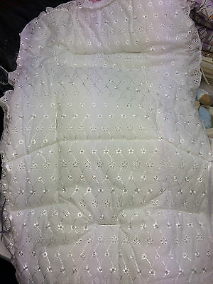 Pram Buggie Stroller Pushchair  Liner Embroidery  Anglais White Universal New