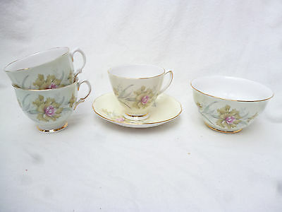 ANTIQUE COLCLOUGH 3 CUPS, SAUCER & SUGAR BOWL - English made bone china