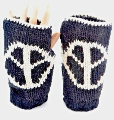 Woolen winter warm gloves mitten ski nepal peace sign unisex funky black