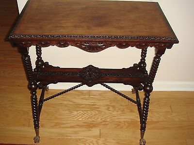 Antique Victorian Walnut Wood Table Side Lamp  Parlor Table Ball And Claw Feet F