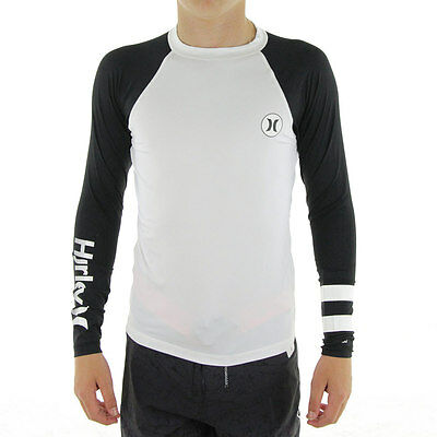 NEW Hurley - Icon Long Sleeve Boy's Rash Shirt/White/Black
