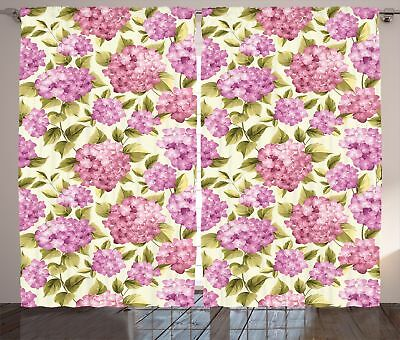 Shabby Chic Curtains Flower with Leaves Window Drapes 2 Panel Set 108x84 Inches