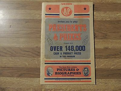 Vintage 1964 A&P Grocery Store, Presidents and Prizes Game Book, VERY RARE