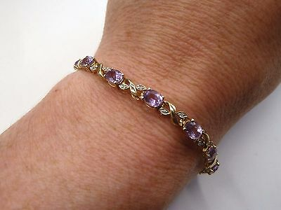 "9ct Gold Natural Amethyst & Diamond Bracelet 7""  7.9 grams"