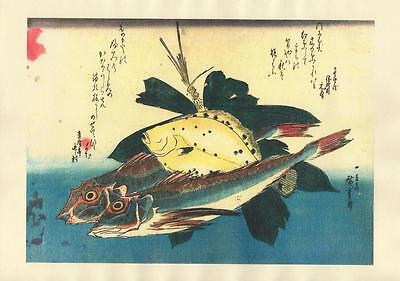Japanese Reproduction Woodblock-Fishes #83 by Ando Hiroshige on Parchment Paper
