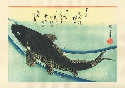 Japanese Reproduction Woodblock-Fishes #85 by Ando Hiroshige on Parchment Paper