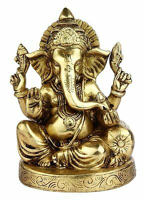 """Hindu Brass God Lord Ganesha Sitting On Couch Indian Hand Made Statue 6"""""""