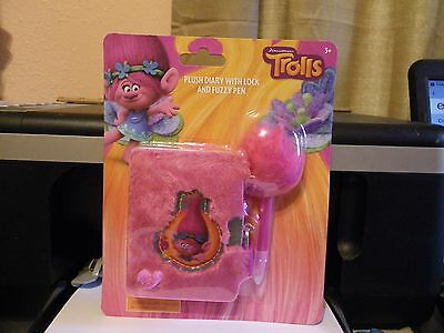 Trolls Dreamworks Plush Diary with Lock and Fuzzy Pen