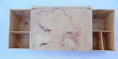 Vintage 1950s Marble Skin ~ Pink Bakelite Vanity Make Up Jewelry Box Mid Century