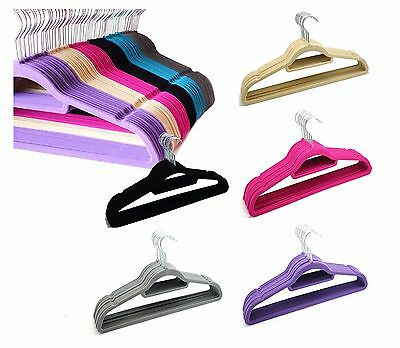 10 x NON SLIP VELVET HANGERS Hanging Clothes Coat Flocked Cloth Hanger With Bar