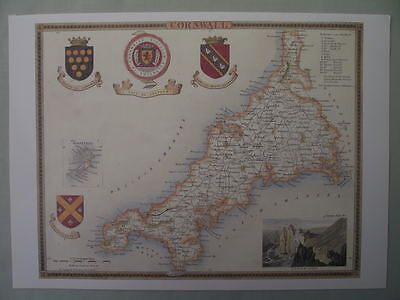 Cornwall Repro 1830 Thomas Moule map County Maps of Old England Ideal Gift