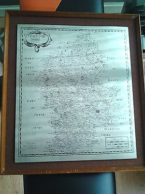 Vintage Hand Engraved Stainless Steel Etched Framed Picture Map Of Staffordshire