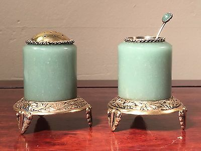 Superb Chinese Jade Archer Ring Condiment Set in Gold Gilt Sterling