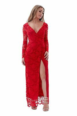 Long Sleeve Red Carpet Full Length Lace Party Evening Summer Maxi Dress