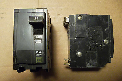 Square D QO QO225 2 Pole 25 Amp Circuit Breaker YELLOW Snap In