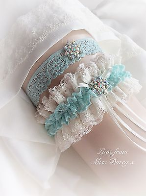 Bridal Garter Toss and Bag Mint Tiffany Blue Ivory Personalised Wedding Brides