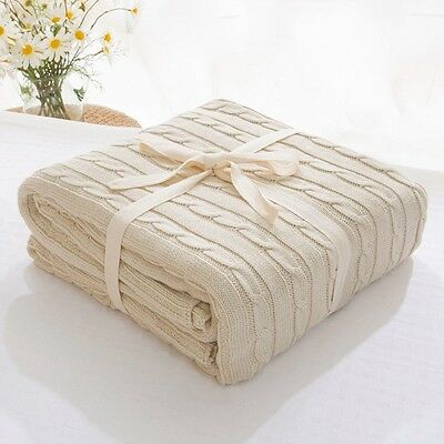 Newest Knitted Blanket Office Nap Pure Color Throw Travel Comfy Sleeping Quilt