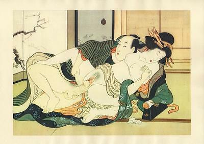 Japanese Reproduction Woodblock Print Shunga Style 4# Erotic  A4 Parchment Paper