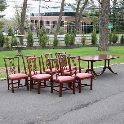 Drexel Heritage Dining Table and 8 Chairs Chippendale Collector's Mahogany Set