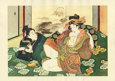 Japanese Reproduction Woodblock Print Shunga Style 12# Erotic A4 Parchment Paper