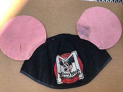 VERY RARE 1950's VINTAGE Mickey Mouse Club Mouseketeer Ears MINNIE MOUSE cap hat