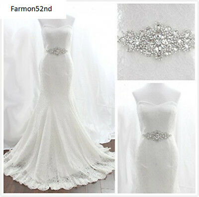 Wedding Bridal Dress Belt Sash Pearls Rhinestone Crystal Rhinestones