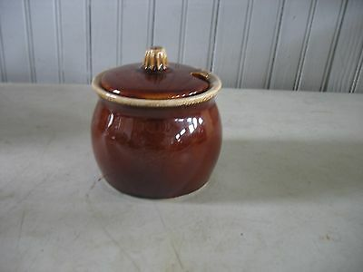 Vintage Hull Oven Proof USA Brown Drip Condiment Jam Jelly Jar Honey Pot w/ Lid