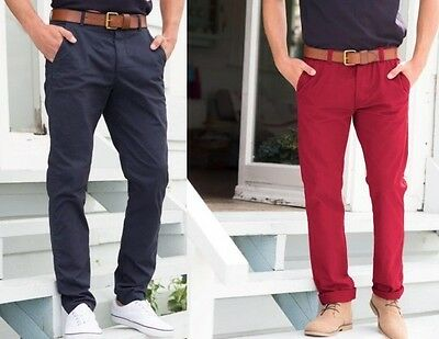 Mens Chinos Stretch Strech Trousers Slim Fit Jeans All Waist Sizes