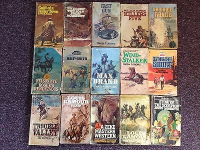 Lot of 46 Vintage Western Paperbacks, Cowboys, Ranching, Gun Fights, Horses