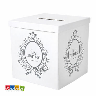 Gift Box Just Married 25 x 25 Porta Buste Wedding Card Regali Matrimonio Bianco