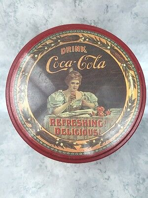 "Vtg Round ""Drink Coca-Cola Delicious and Refreshing"" Collectible Tin Box"