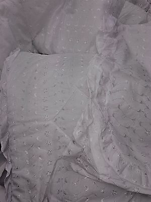 3 piece Crib bedding,Quilt & bumper, Canopy White Embroidery Anglais