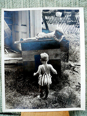 Rare antique art photo by Jacques Lowe 2 children playing with a  Dog House # 2