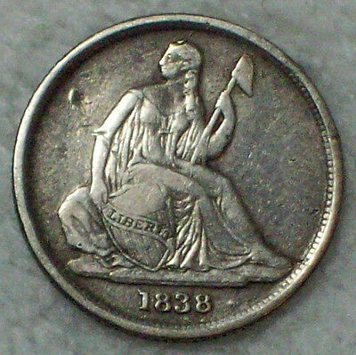 1838 O Seated Liberty DIME Authentic SILVER RARE No Stars Type! NEW ORLEANS Coin
