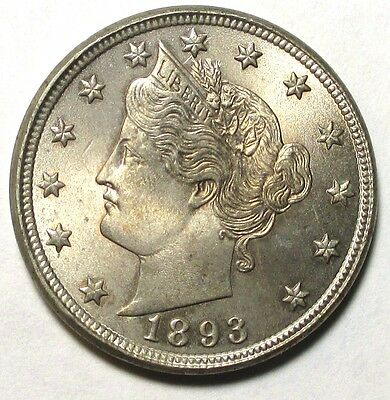 1893 Liberty Nickel, ANACS MS65/65, RARE Photo Cert. from 1981, VERY NICE!