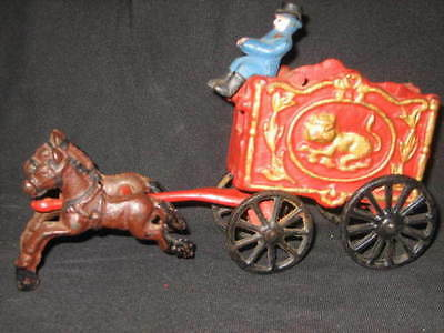 Vintage 1930's Arcade Cast Iron Horse Drawn Circus Wagon Carriage Antique Toy!