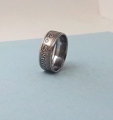 Third Reich WWII 1934 German 5 mark 90% silver coin Ring  size 10