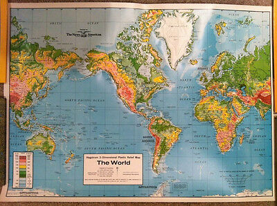 "VTG 1970's Hagstrom Plastic Relief Map of the World 27"" x 20"" Educational Aids"