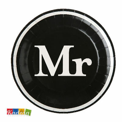 Set 10 Piatti di Carta MR - Party Festa Mr & Mrs Matrimonio Uomo Groom Sposo