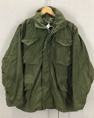 Vintage Distressed 60's M-65 US Army Green Field Jacket Sz Small