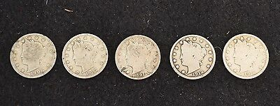 5 x Liberty Head Nickels - 1912-D, 1912, 1911, 1907, and 1906